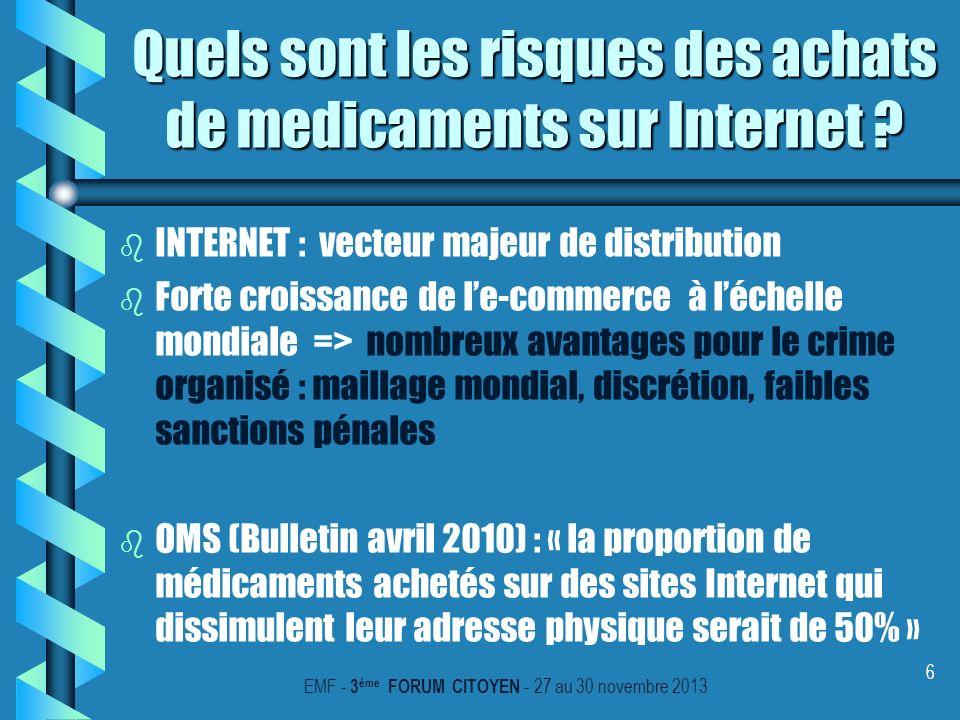 6 Quels sont les risques des achats de medicaments sur Internet ? b b INTERNET : vecteur majeur de distribution b b Forte croissance de le-commerce à