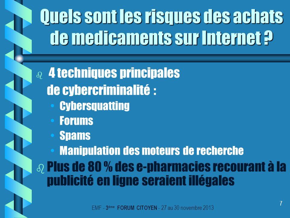 7 Quels sont les risques des achats de medicaments sur Internet ? b b 4 techniques principales de cybercriminalité : Cybersquatting Forums Spams Manip