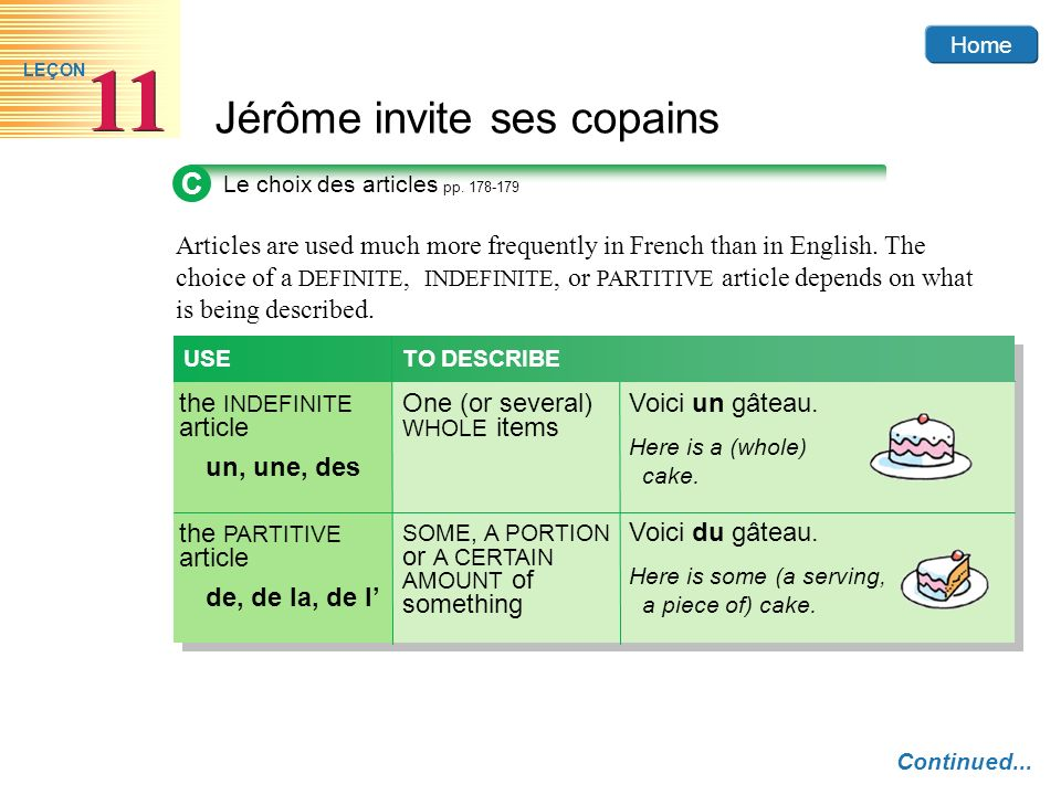 Home Jérôme invite ses copains 11 LEÇON C Le choix des articles pp. 178-179 Continued... Articles are used much more frequently in French than in Engl