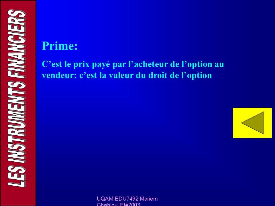UQAM,EDU7492,Mariem Chahloul,Été2003 Prime: Cest le prix payé par lacheteur de loption au vendeur: cest la valeur du droit de loption