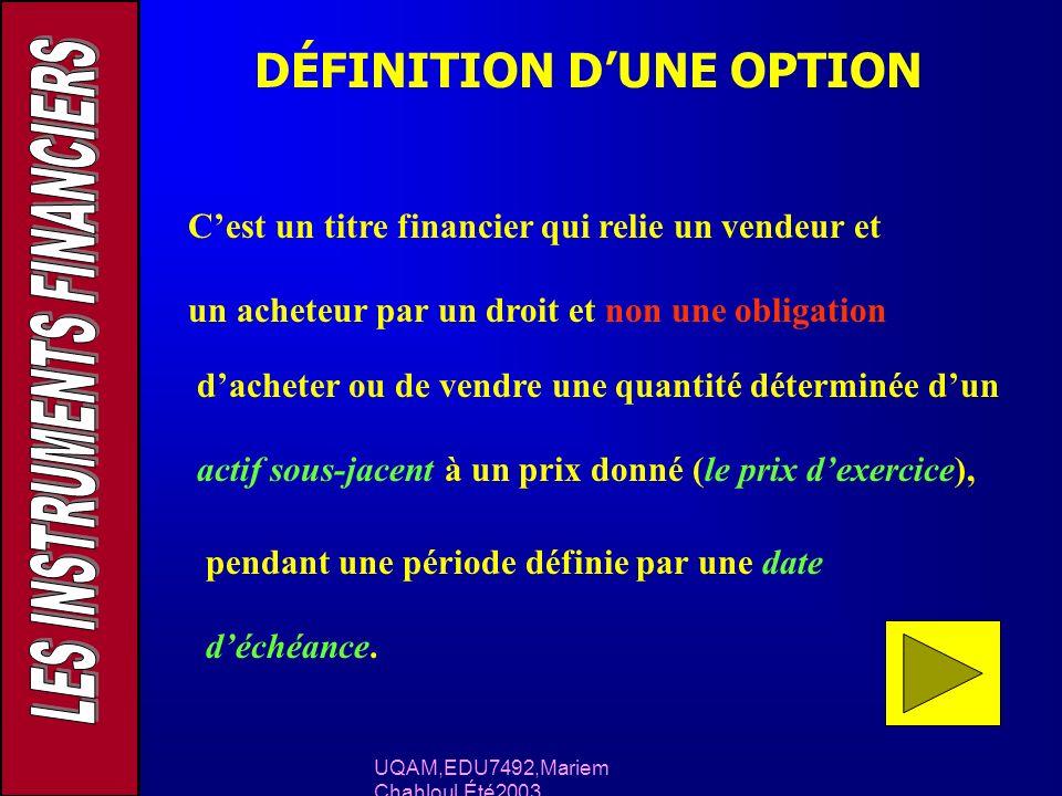 DÉFINITION DUNE OPTION Cest un titre financier qui relie un vendeur et un acheteur par un droit et non une obligation dacheter ou de vendre une quanti