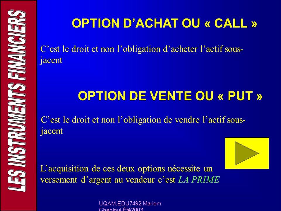 UQAM,EDU7492,Mariem Chahloul,Été2003 OPTION DACHAT OU « CALL » Cest le droit et non lobligation dacheter lactif sous- jacent OPTION DE VENTE OU « PUT