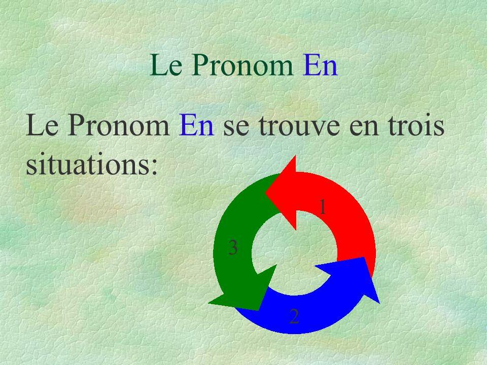 Le Pronom En Le Pronom En se trouve en trois situations: 1 2 3