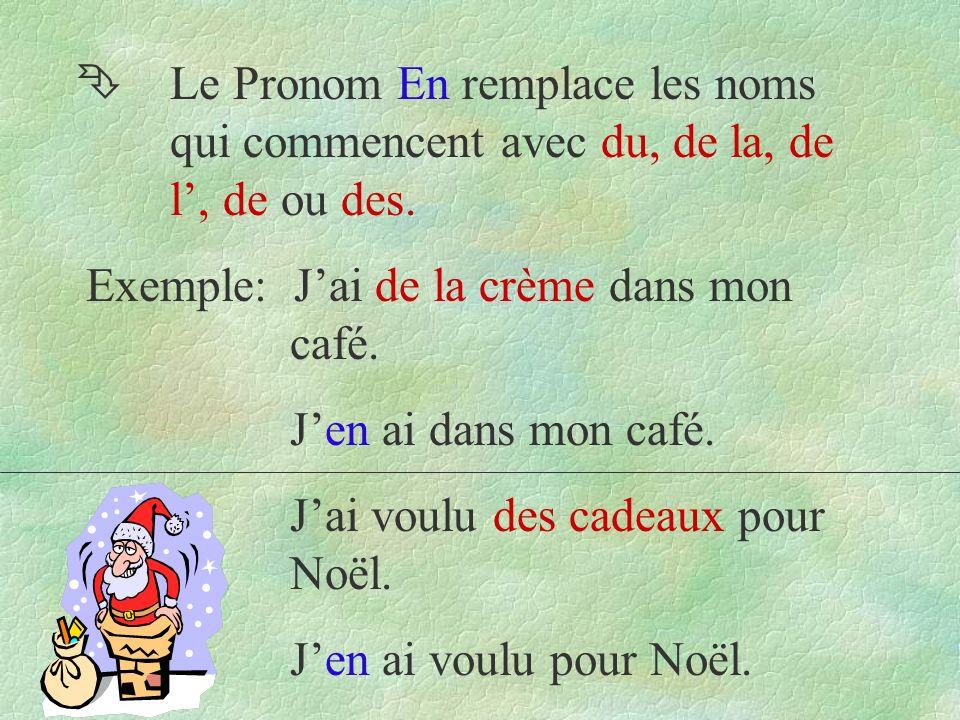 Ê Le Pronom En remplace les noms qui commencent avec du, de la, de l, de ou des.