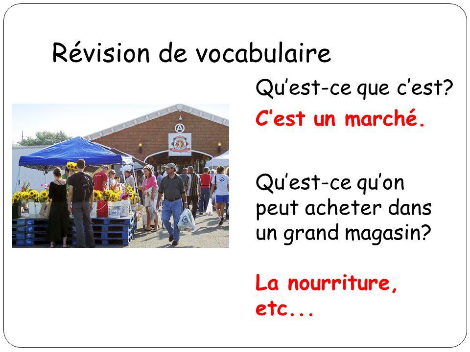 Révision de vocabulaire Quest-ce que cest? Cest un marché. Quest-ce quon peut acheter dans un grand magasin? La nourriture, etc...