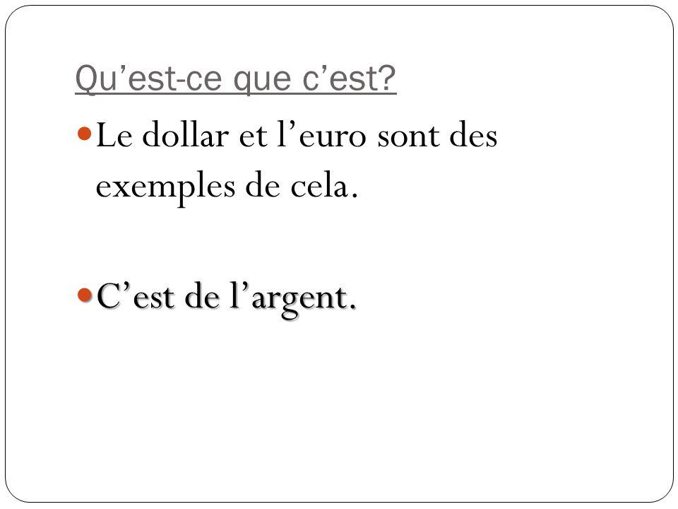 Quest-ce que cest? Le dollar et leuro sont des exemples de cela. Cest de largent. Cest de largent.