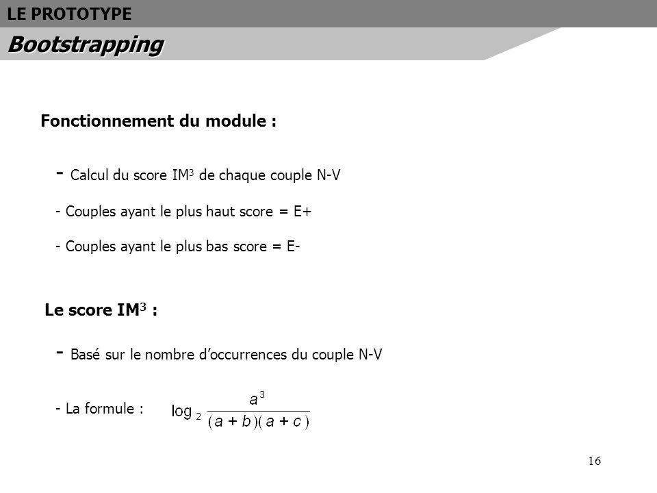 16 Fonctionnement du module : - Calcul du score IM 3 de chaque couple N-V - Couples ayant le plus haut score = E+ - Couples ayant le plus bas score =