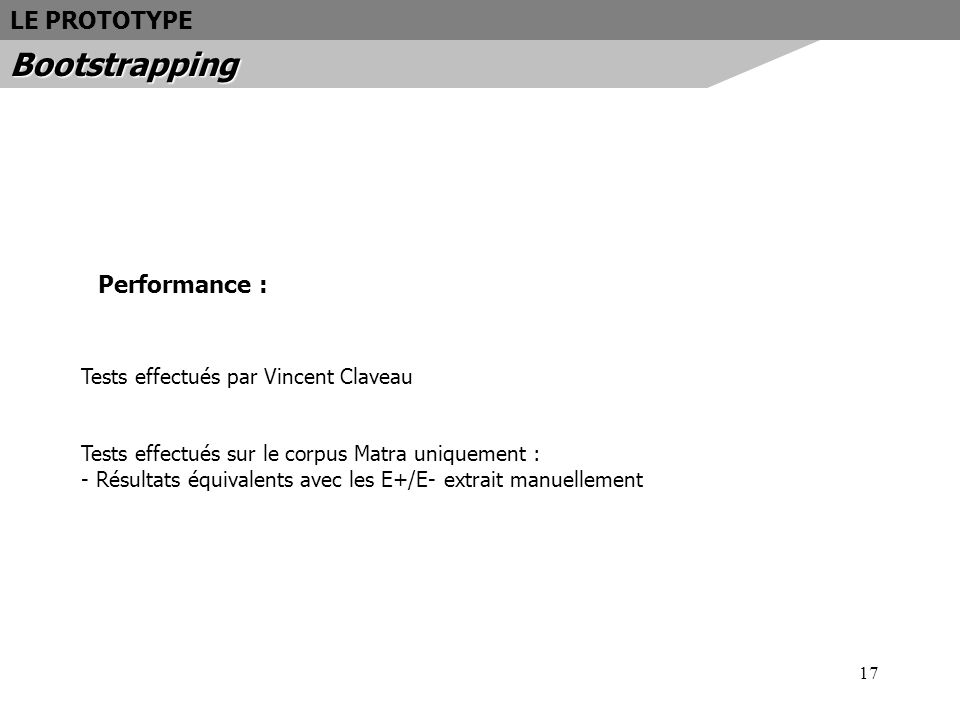 17 Performance : Tests effectués par Vincent Claveau Tests effectués sur le corpus Matra uniquement : - Résultats équivalents avec les E+/E- extrait m