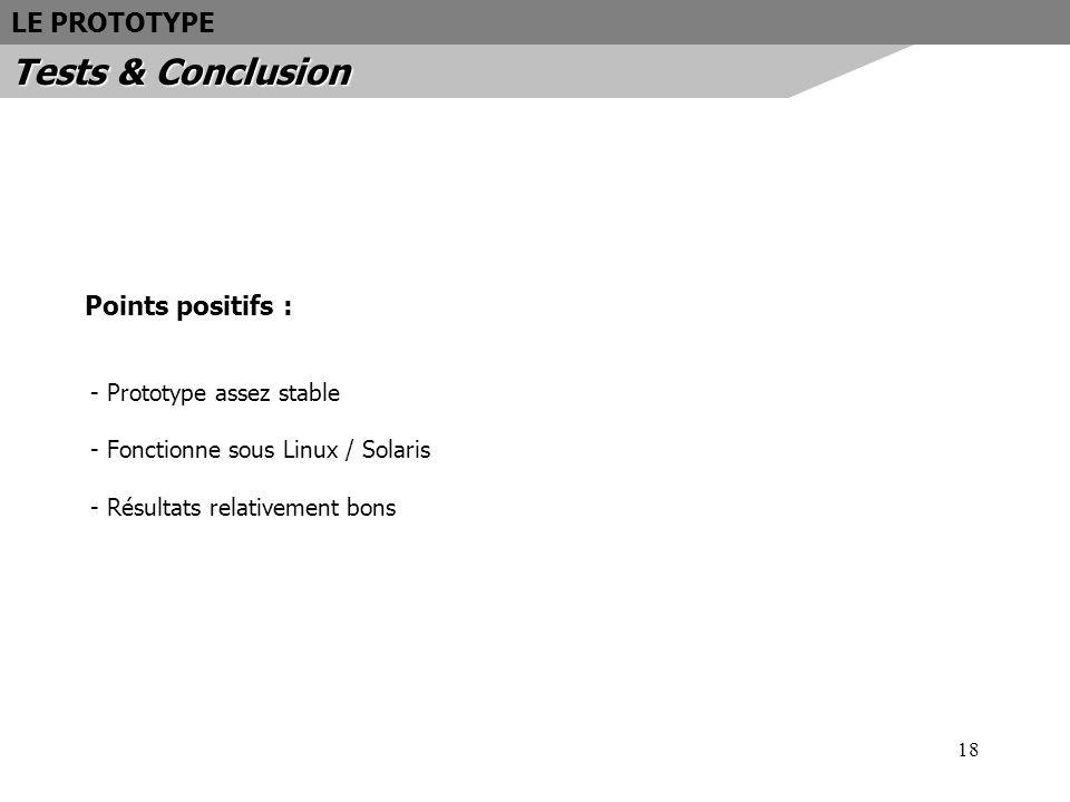 18 Points positifs : - Prototype assez stable - Fonctionne sous Linux / Solaris - Résultats relativement bons LE PROTOTYPE Tests & Conclusion