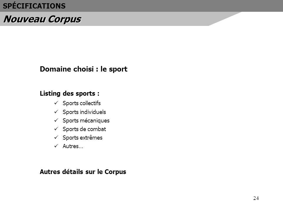 24 Domaine choisi : le sport Listing des sports : Sports collectifs Sports individuels Sports mécaniques Sports de combat Sports extrêmes Autres… Autr
