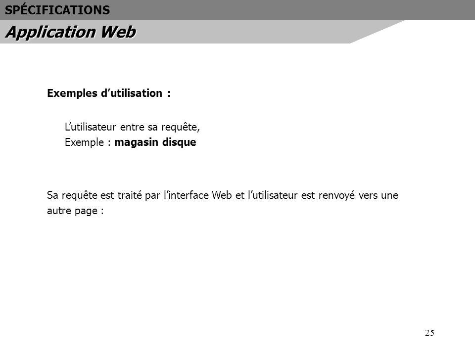 25 Exemples dutilisation : Lutilisateur entre sa requête, Exemple : magasin disque Sa requête est traité par linterface Web et lutilisateur est renvoy