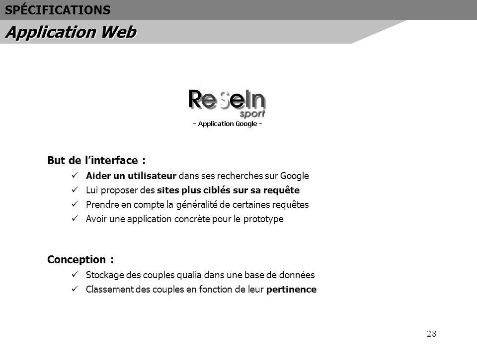 28 But de linterface : Aider un utilisateur dans ses recherches sur Google Lui proposer des sites plus ciblés sur sa requête Prendre en compte la géné