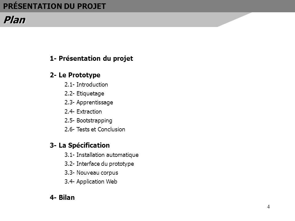 15 Présentation du module : - Prend en entrée un corpus étiqueté - Extrait les ensembles positifs et négatifs - Entièrement automatique Bootstrapping E- E+ Corpus étiqueté LE PROTOTYPEBootstrapping