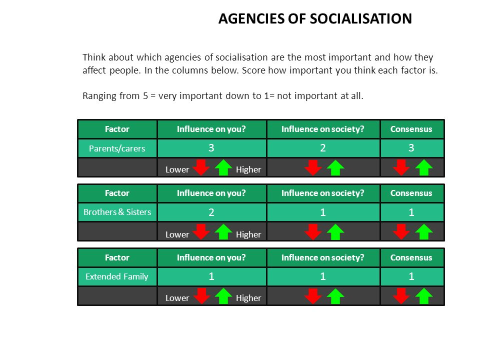 AGENCIES OF SOCIALISATION Think about which agencies of socialisation are the most important and how they affect people.