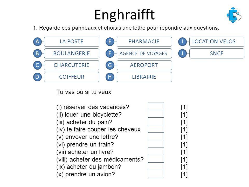 Enghraifft 1. Regarde ces panneaux et choisis une lettre pour répondre aux questions.