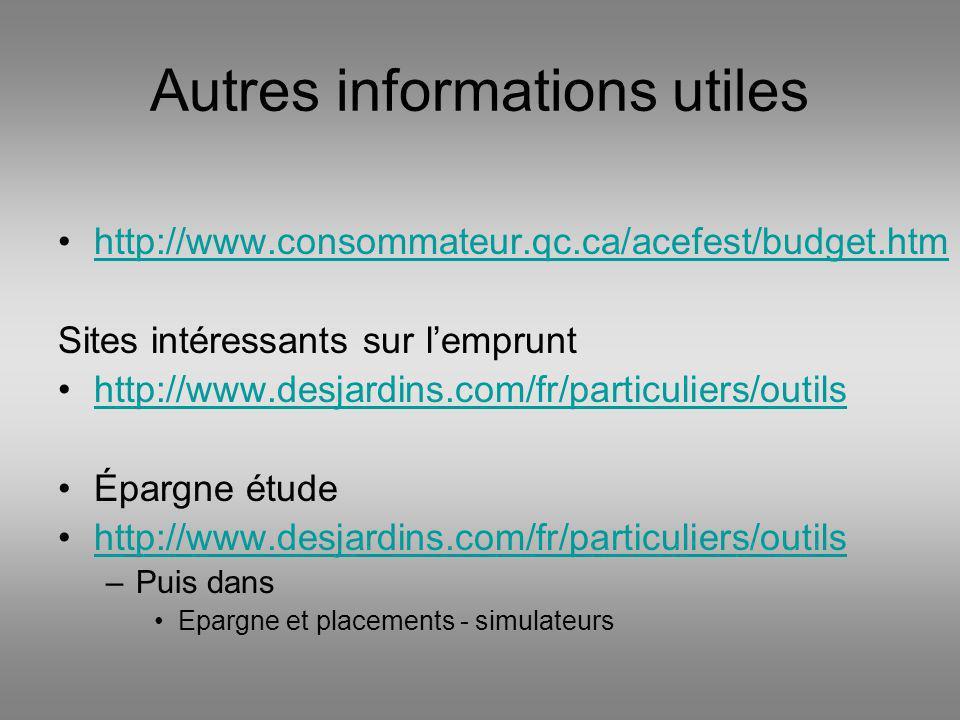 Autres informations utiles http://www.consommateur.qc.ca/acefest/budget.htm Sites intéressants sur lemprunt http://www.desjardins.com/fr/particuliers/