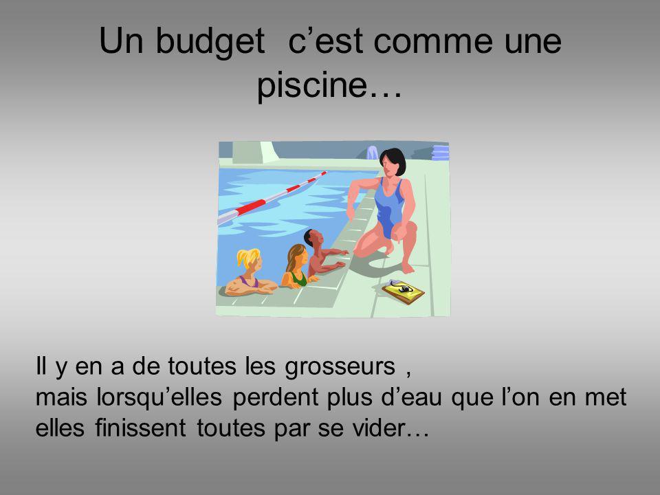 Un budget cest comme une piscine… Il y en a de toutes les grosseurs, mais lorsquelles perdent plus deau que lon en met elles finissent toutes par se v