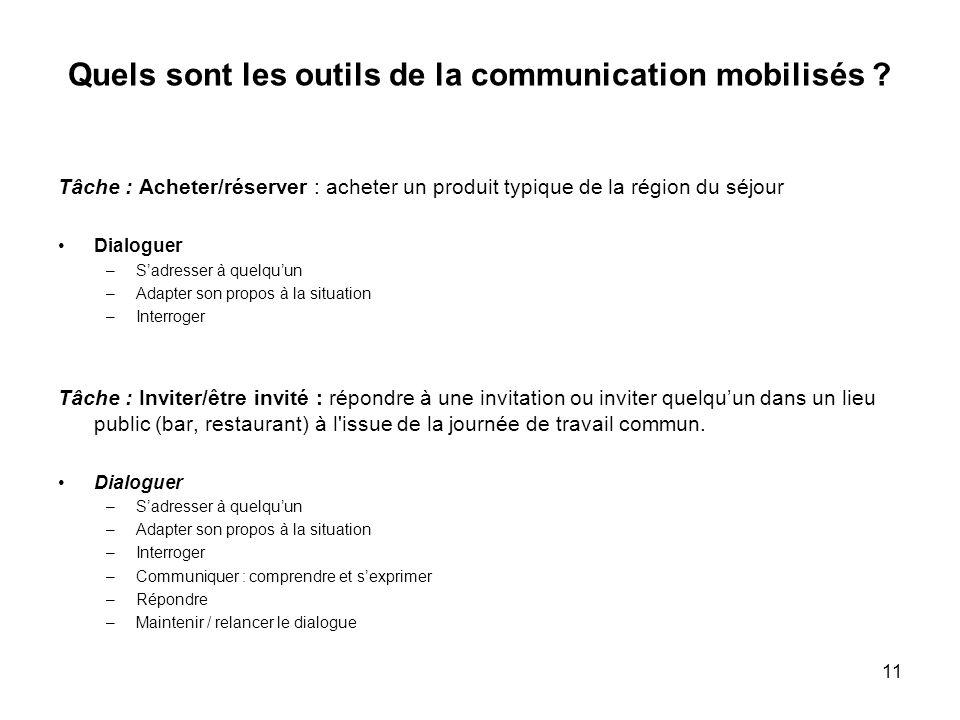 11 Quels sont les outils de la communication mobilisés ? Tâche : Acheter/réserver : acheter un produit typique de la région du séjour Dialoguer –Sadre