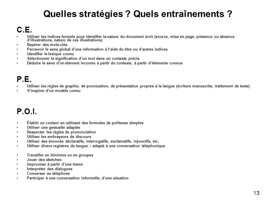13 Quelles stratégies ? Quels entraînements ? C.E. Utiliser les indices formels pour identifier la nature du document écrit (source, mise en page, pré