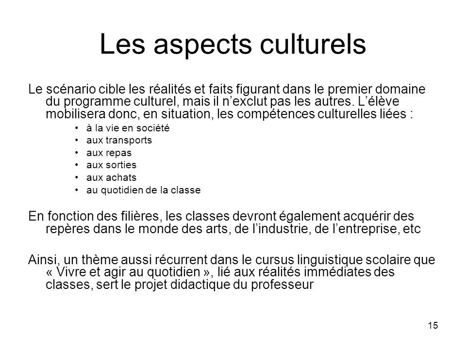 15 Les aspects culturels Le scénario cible les réalités et faits figurant dans le premier domaine du programme culturel, mais il nexclut pas les autre