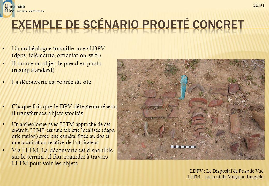 26/91 Un archéologue travaille, avec LDPV (dgps, télémétrie, ortientation, wifi) Il trouve un objet, le prend en photo (manip standard) La découverte