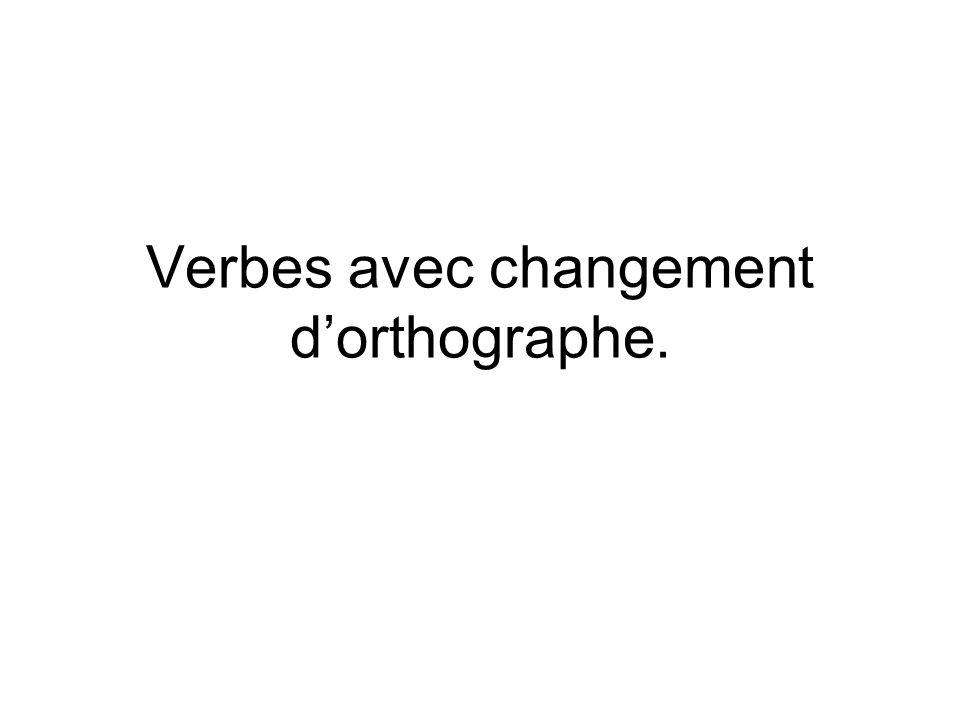 Verbes avec changement dorthographe.