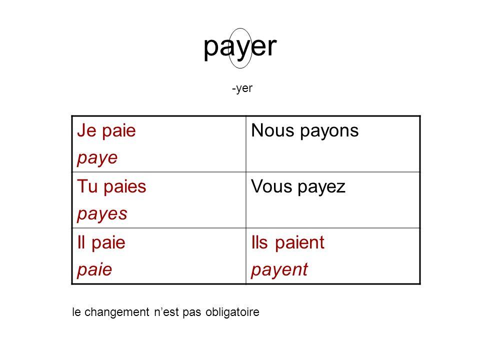 payer Je paie paye Nous payons Tu paies payes Vous payez Il paie paie Ils paient payent le changement nest pas obligatoire -yer