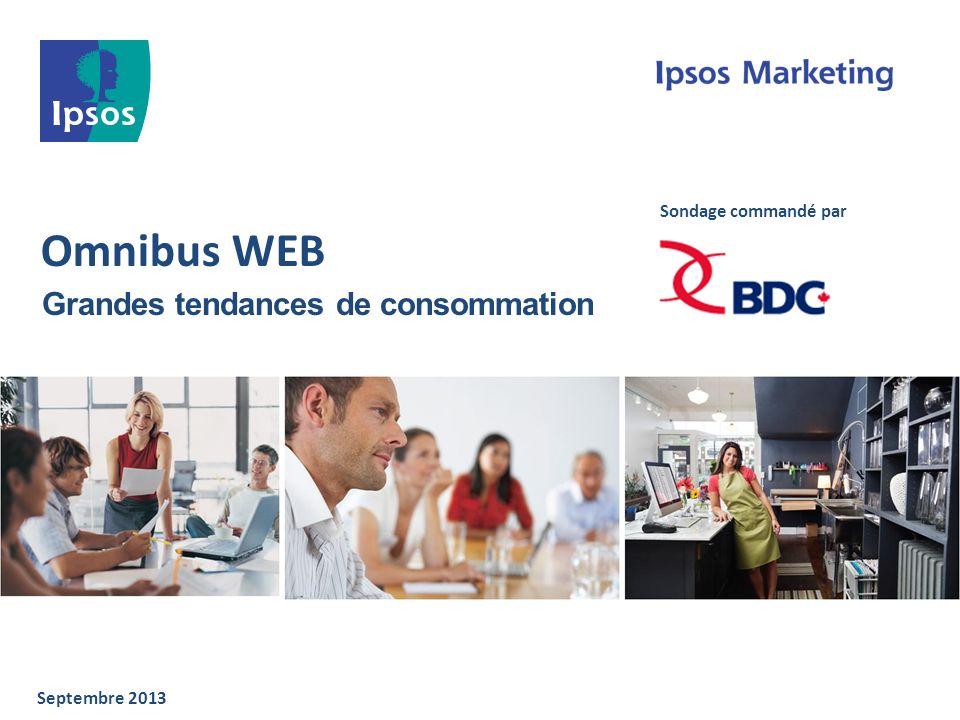 Omnibus WEB Grandes tendances de consommation Septembre 2013 Sondage commandé par
