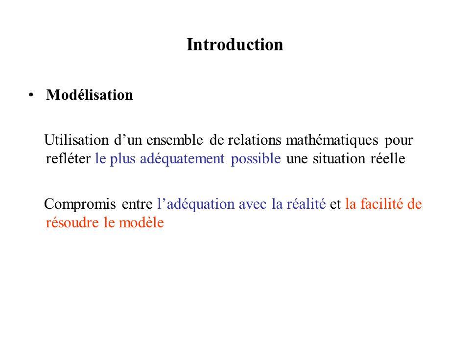 Introduction Modélisation Utilisation dun ensemble de relations mathématiques pour refléter le plus adéquatement possible une situation réelle Compromis entre ladéquation avec la réalité et la facilité de résoudre le modèle