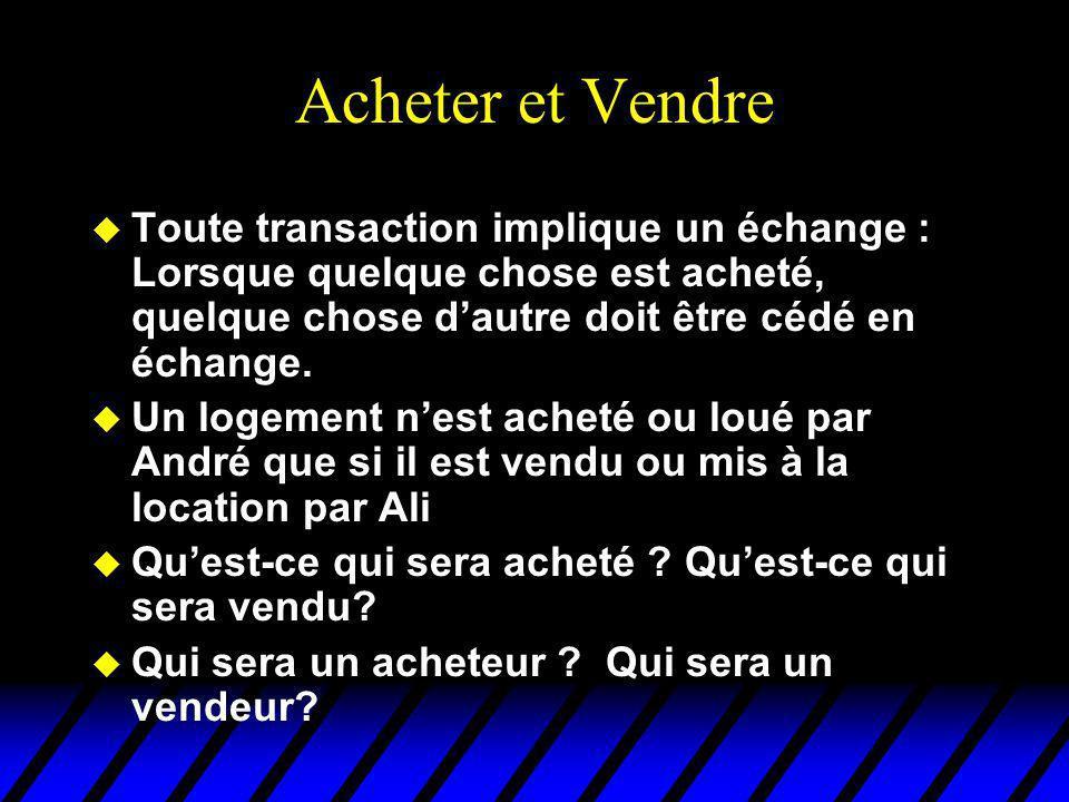 Acheter et Vendre u Toute transaction implique un échange : Lorsque quelque chose est acheté, quelque chose dautre doit être cédé en échange.