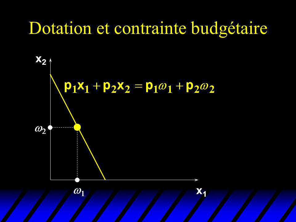 Equation de Slutsky Revue x1x1 2 1 x2x2 x 2 x 1 prix initiaux: (p 1,p 2).