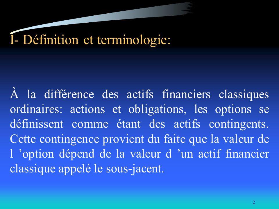 2 I- Définition et terminologie: À la différence des actifs financiers classiques ordinaires: actions et obligations, les options se définissent comme