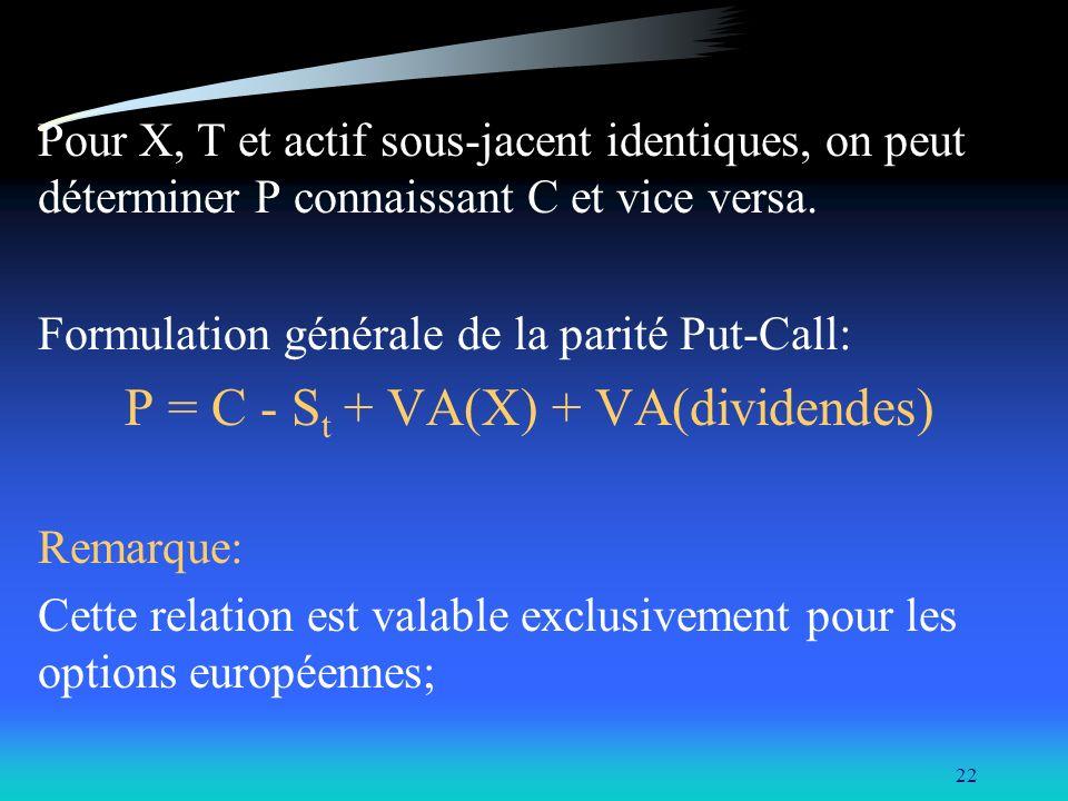 22 Pour X, T et actif sous-jacent identiques, on peut déterminer P connaissant C et vice versa. Formulation générale de la parité Put-Call: P = C - S