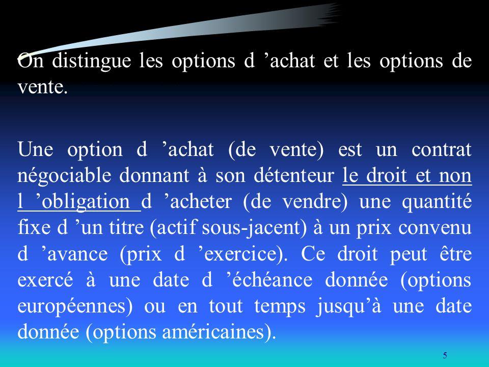 5 On distingue les options d achat et les options de vente. Une option d achat (de vente) est un contrat négociable donnant à son détenteur le droit e