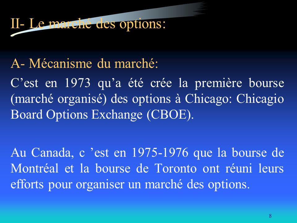8 II- Le marché des options: A- Mécanisme du marché: Cest en 1973 qua été crée la première bourse (marché organisé) des options à Chicago: Chicagio Bo