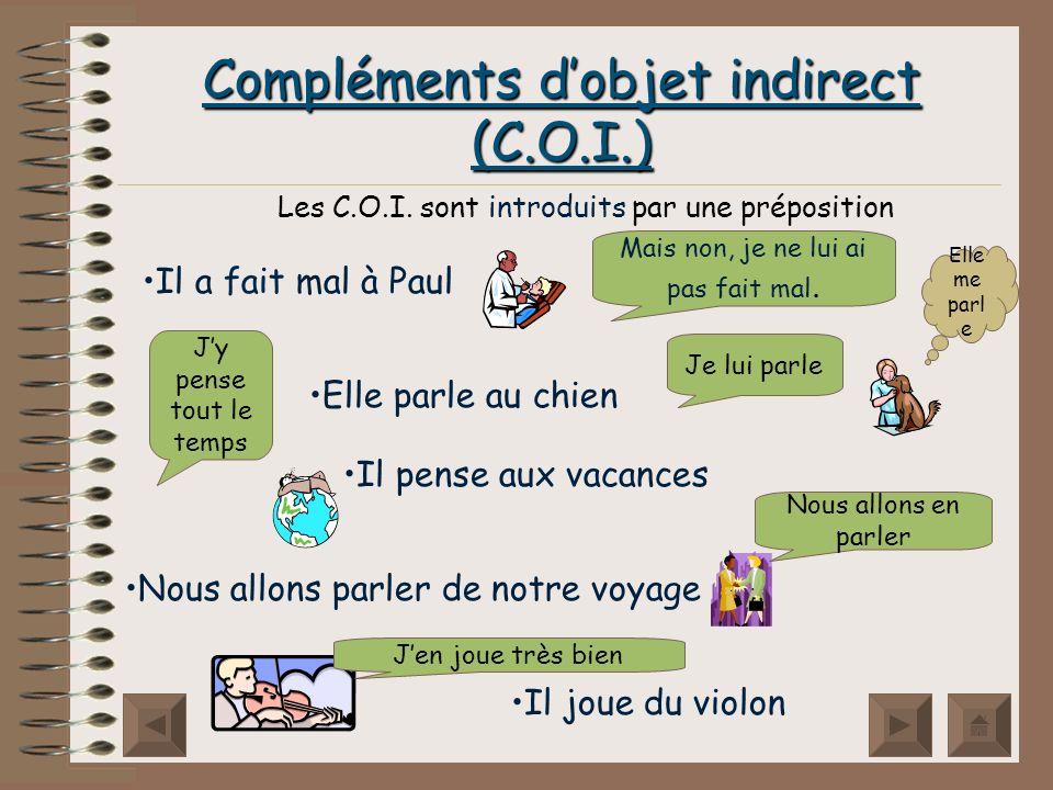 Compléments dobjet indirect (C.O.I.) Les C.O.I.
