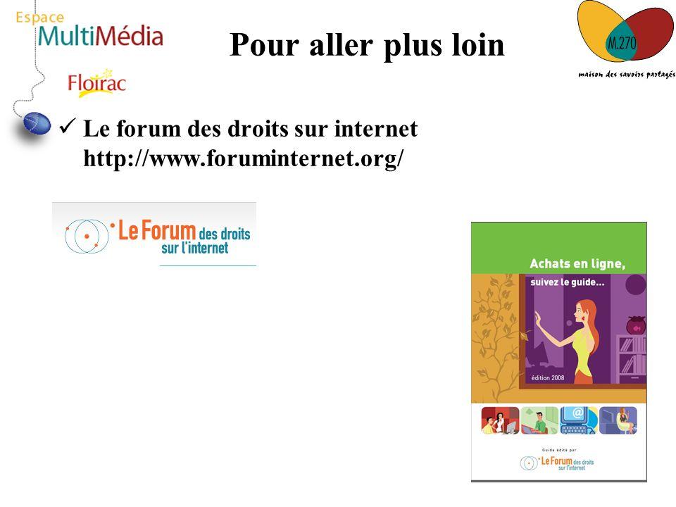 Pour aller plus loin Le forum des droits sur internet http://www.foruminternet.org/