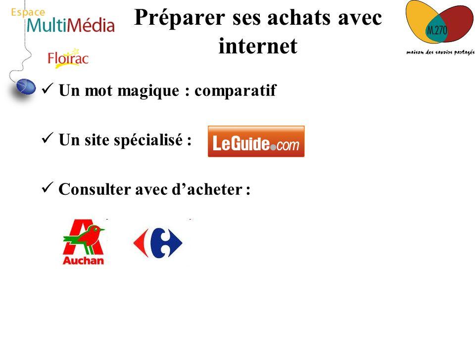 Préparer ses achats avec internet Un mot magique : comparatif Un site spécialisé : Consulter avec dacheter :