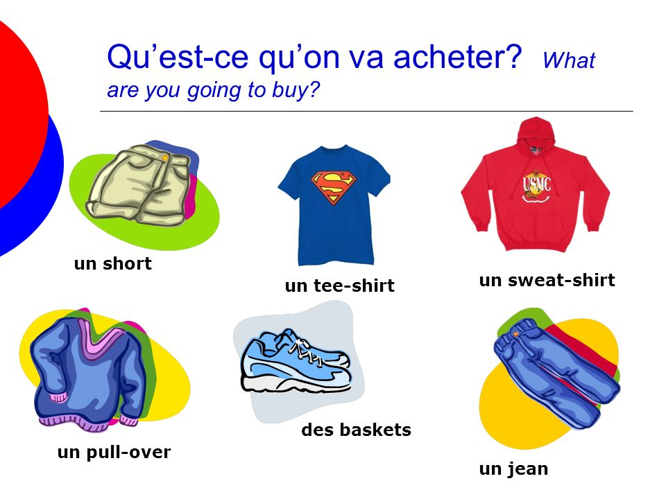 Quest-ce quon va acheter? What are you going to buy? un short des baskets un jean un pull-over un tee-shirt un sweat-shirt