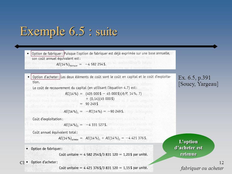 Chapitre 612 Exemple 6.5 : suite fabriquer ou acheter Ex.