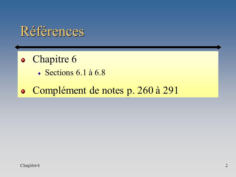 Chapitre 62 Références Sections 6.1 à 6.8 Complément de notes p. 260 à 291