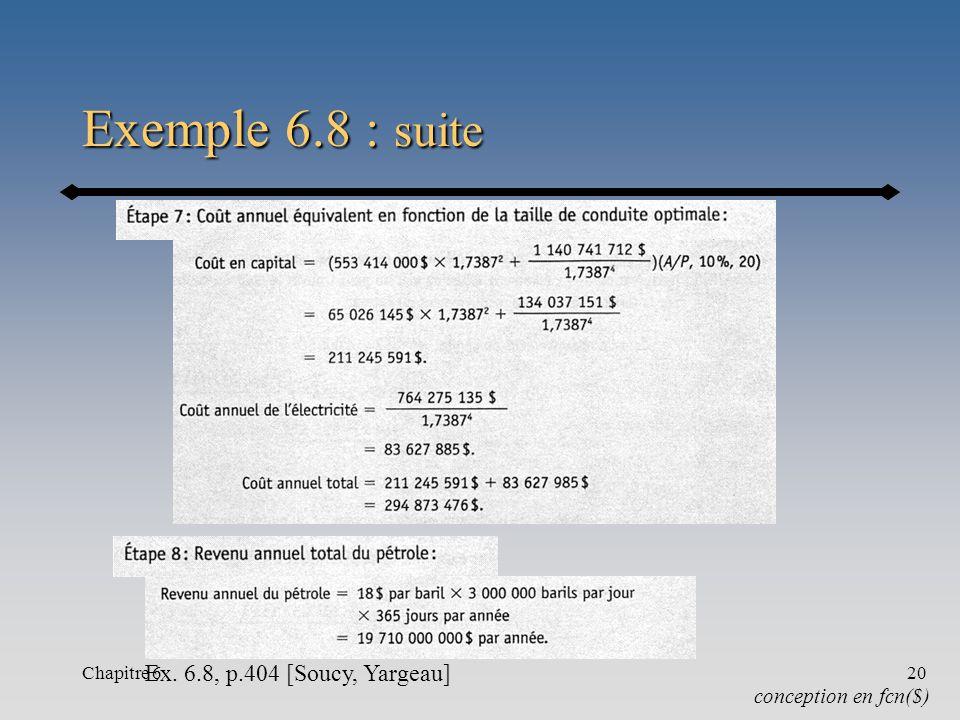 Chapitre 620 Exemple 6.8 : suite conception en fcn($) Ex. 6.8, p.404 [Soucy, Yargeau]