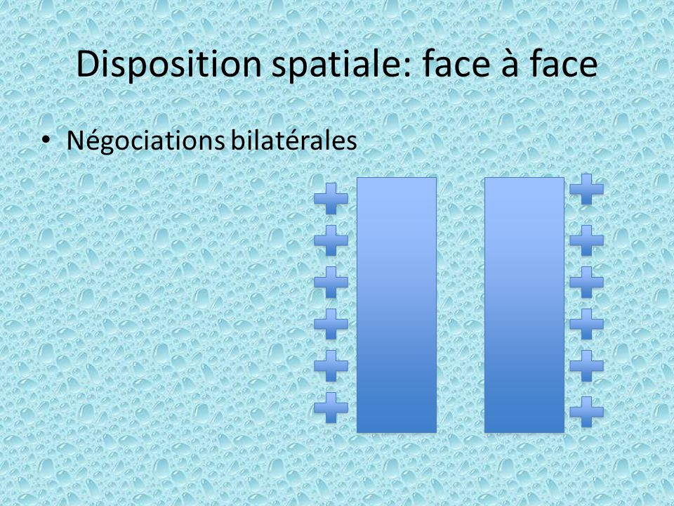 Disposition spatiale: face à face Négociations bilatérales