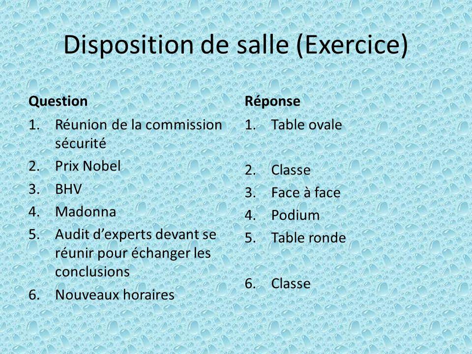 Disposition de salle (Exercice) Question 1.Réunion de la commission sécurité 2.Prix Nobel 3.BHV 4.Madonna 5.Audit dexperts devant se réunir pour échan