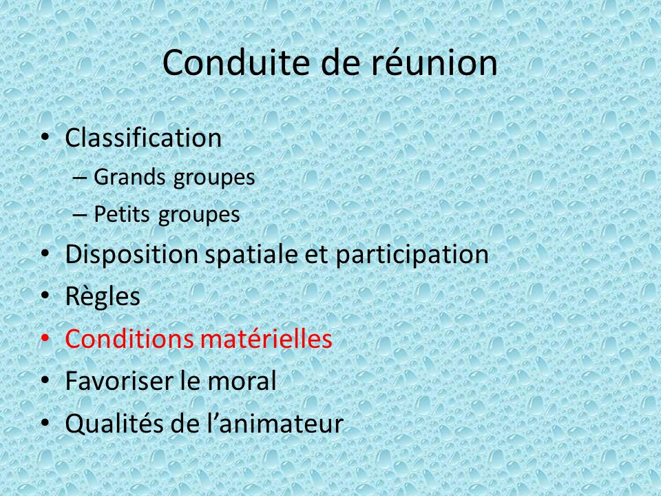 Conduite de réunion Classification – Grands groupes – Petits groupes Disposition spatiale et participation Règles Conditions matérielles Favoriser le