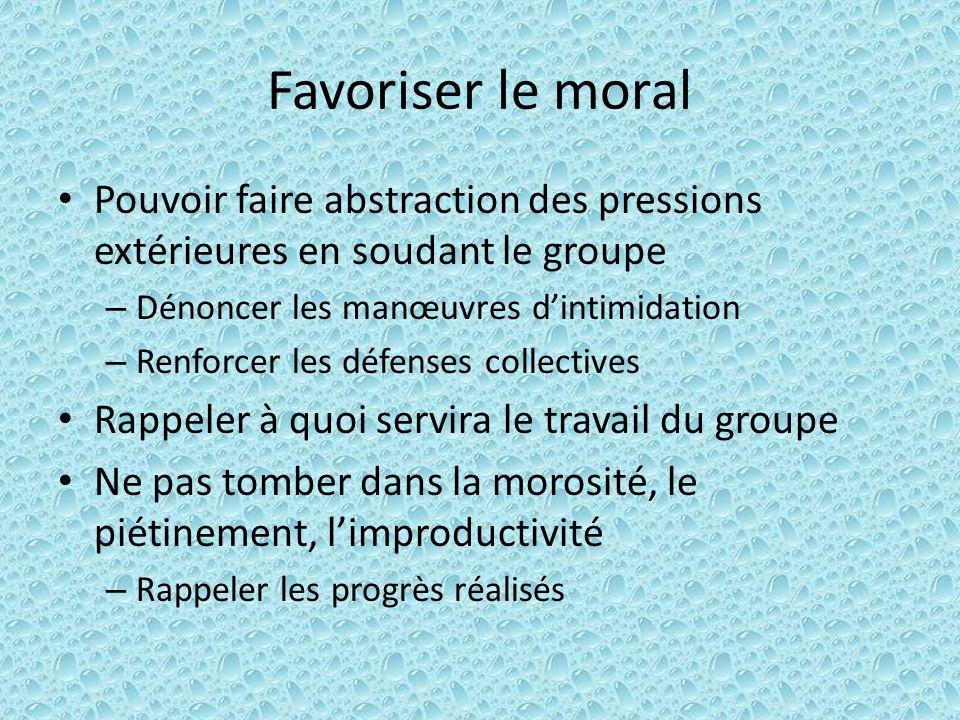Favoriser le moral Pouvoir faire abstraction des pressions extérieures en soudant le groupe – Dénoncer les manœuvres dintimidation – Renforcer les déf
