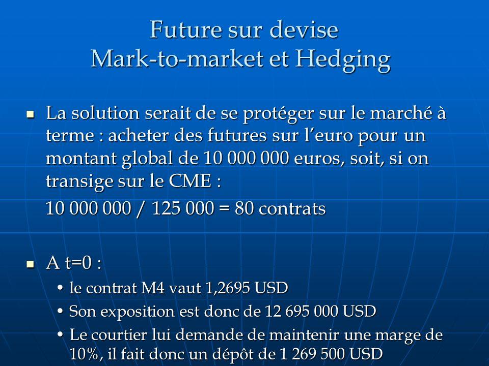 Future sur devise Mark-to-market et Hedging Future sur devise Mark-to-market et Hedging La solution serait de se protéger sur le marché à terme : ache