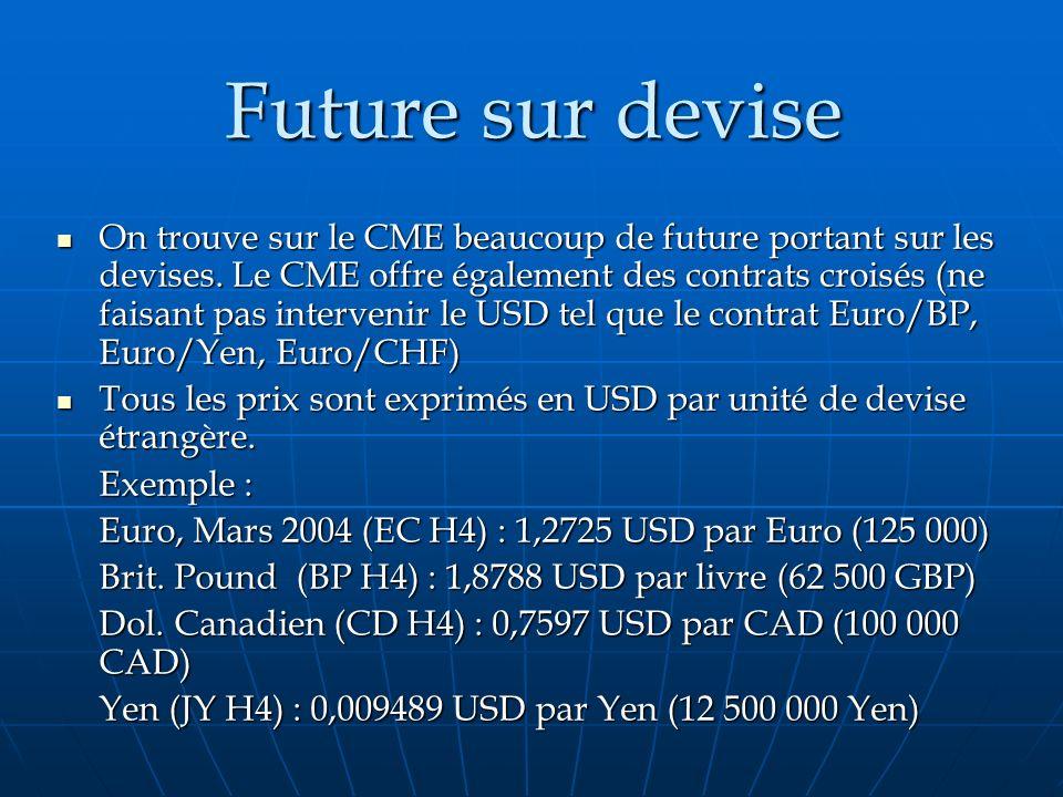 Future sur devise Future sur devise On trouve sur le CME beaucoup de future portant sur les devises. Le CME offre également des contrats croisés (ne f