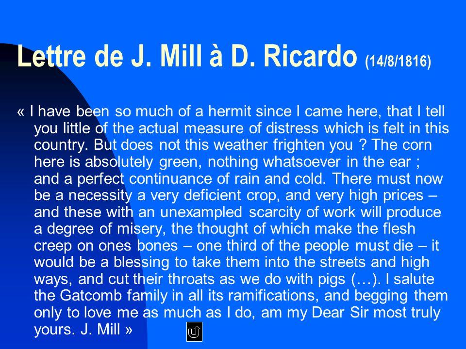 Lettre de J.Mill à D.