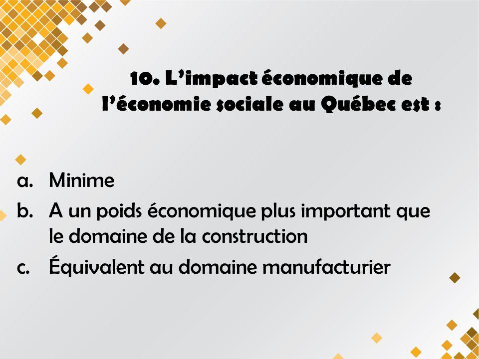 10. Limpact économique de léconomie sociale au Québec est : a.Minime b.A un poids économique plus important que le domaine de la construction c.Équiva